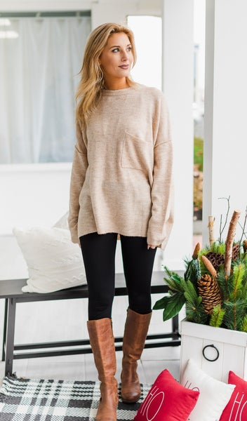 Easy As That Sweater, Beige *Final Sale*