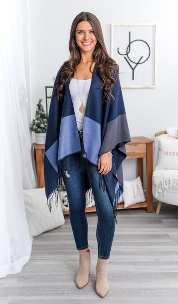 The Erica Shawl, Navy Multi