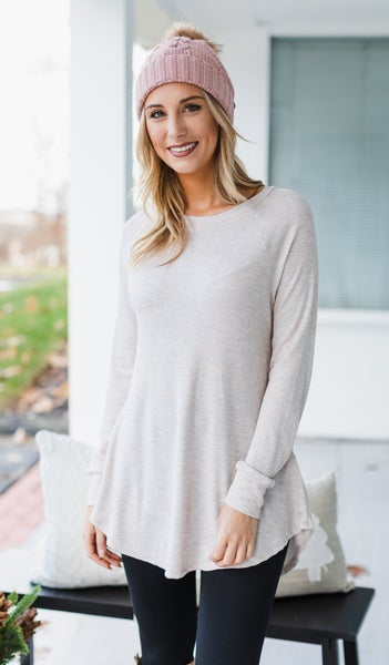 Jenny Thermal Knit Tunic, Black or Oatmeal