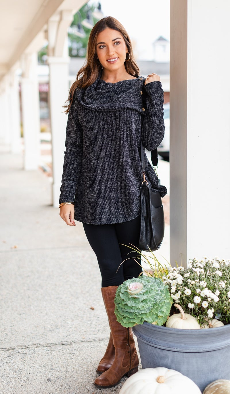 The Leanne Tunic, Charcoal
