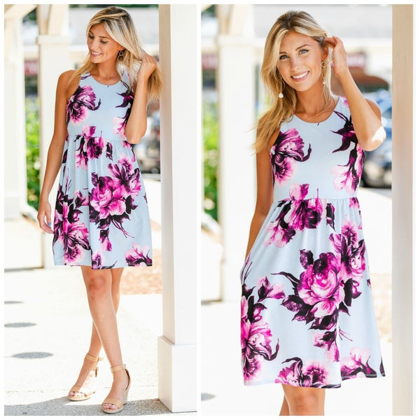 Endless Sun Dress, Blue Floral