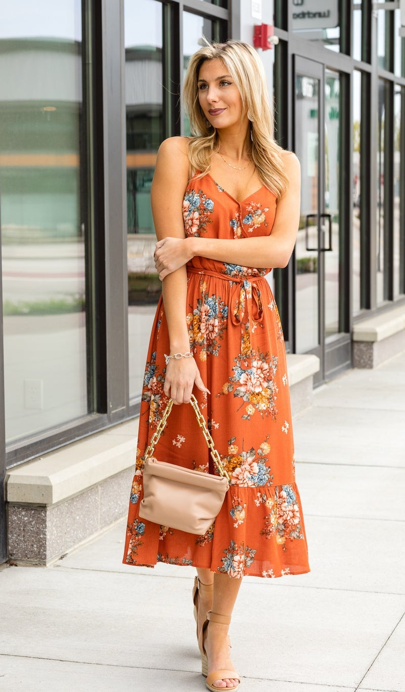 A Floral Vision Dress, Rust