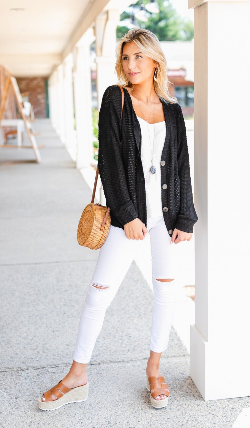 Always In August Sweater/Cardigan, Black