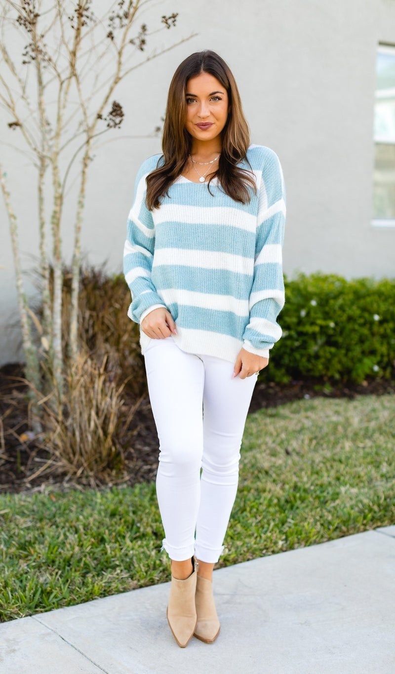 Wish On A Star Sweater, Blue and Ivory