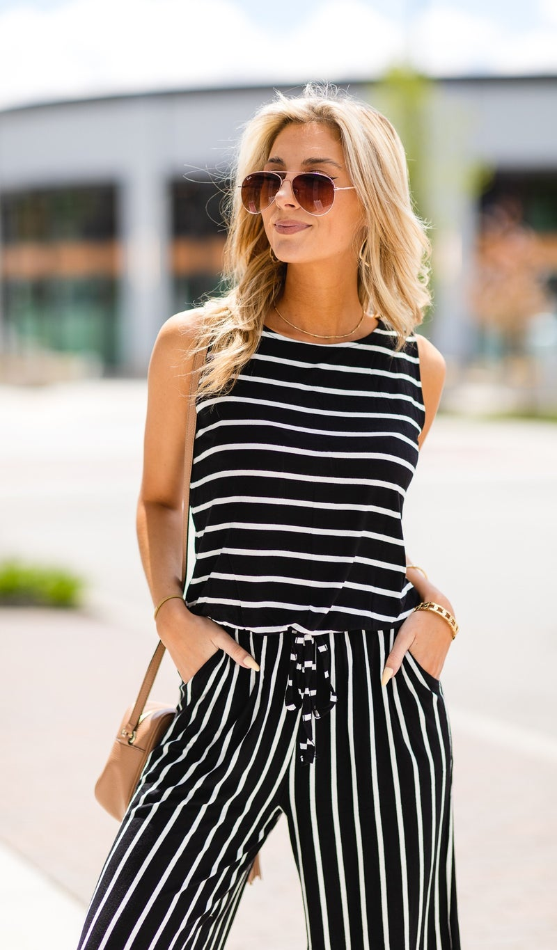 Walk The Line Jumpsuit, Black with Ivory Stripes
