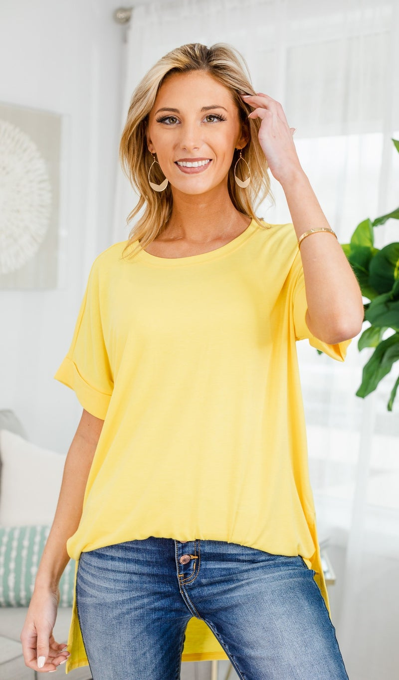 The Isabella Oversized Tee-Yellow, Mint, Or Navy