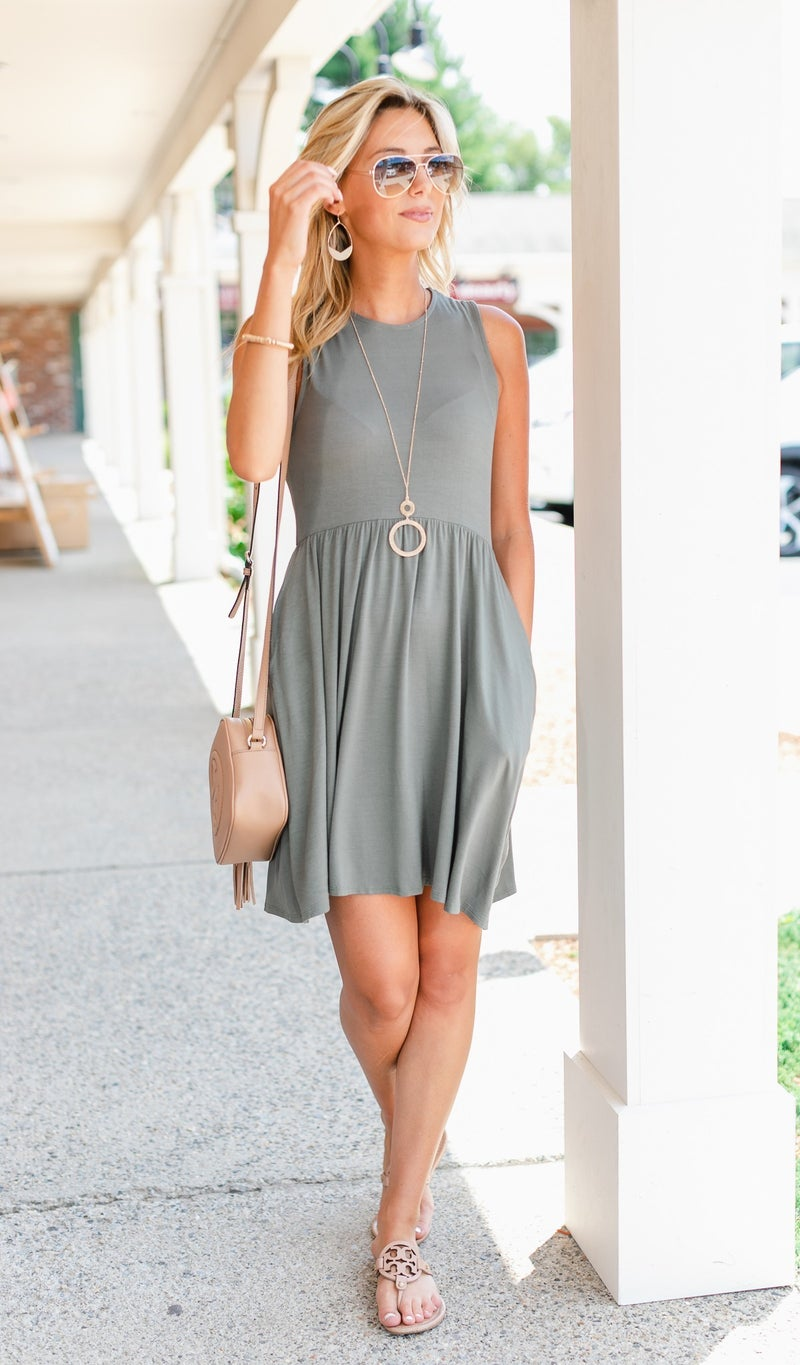 Sun Drenched Dress, Olive
