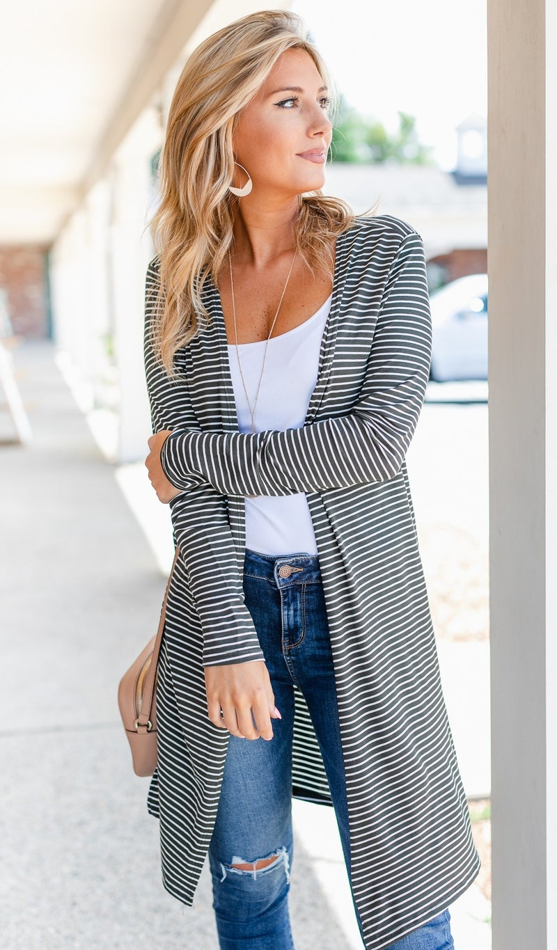 Not Your Average Duster Stripe Cardigan, Army Green & Off White