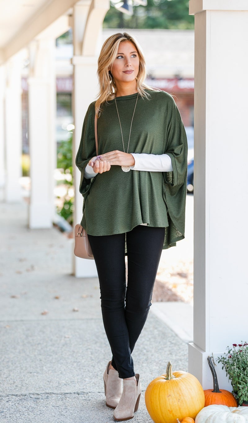 On The Road Sweater/Poncho, Olive