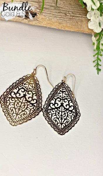 Francesca Earrings, Silver & Gold BUNDLE