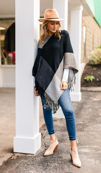 Set The Tone Poncho, Color Block