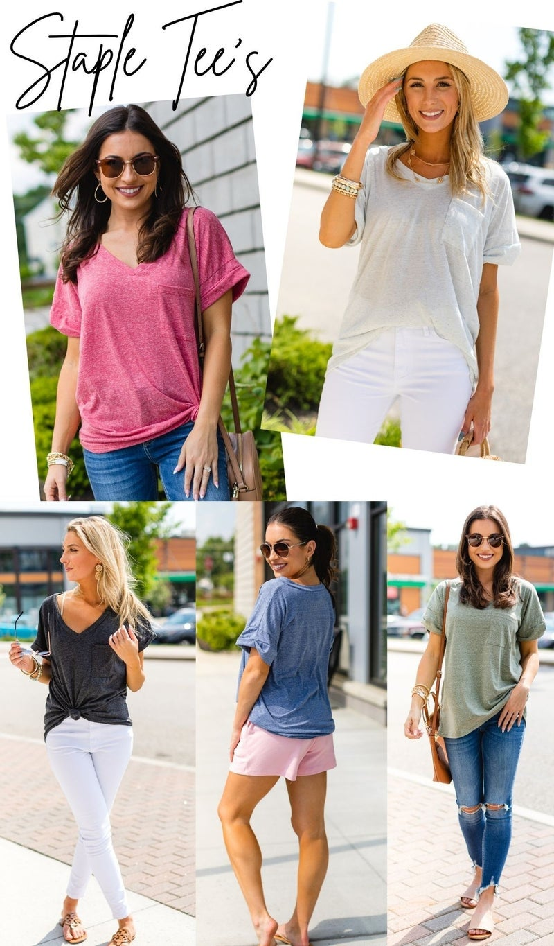 Hello Basic Tees, Charcoal, White, Blue, Berry or Olive