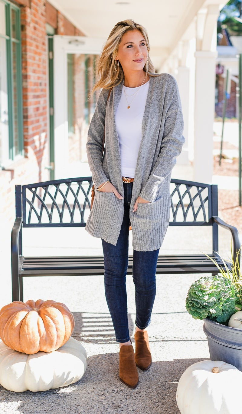 At Long Last Sweater Cardigan, Grey or Taupe