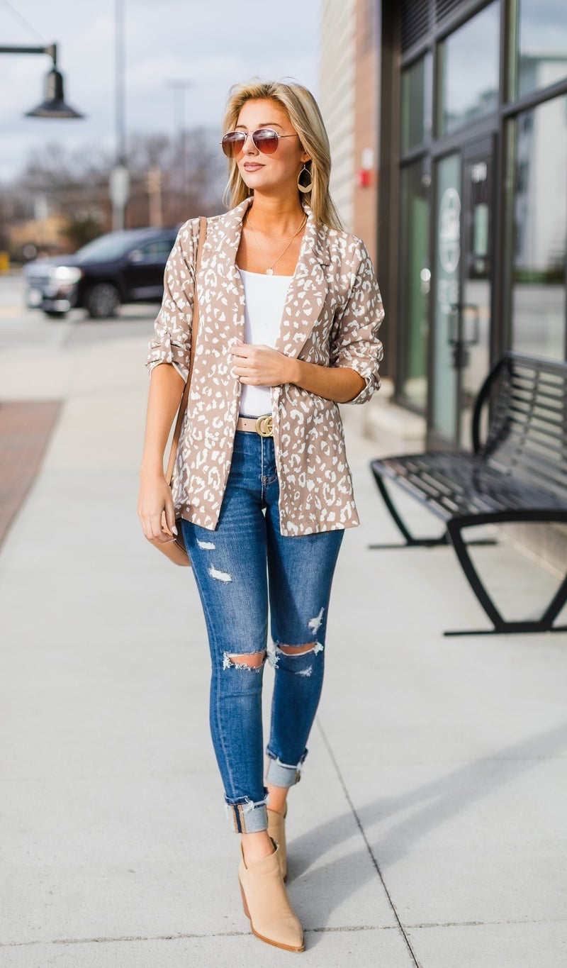The Kiera Blazer Cardigan, Taupe
