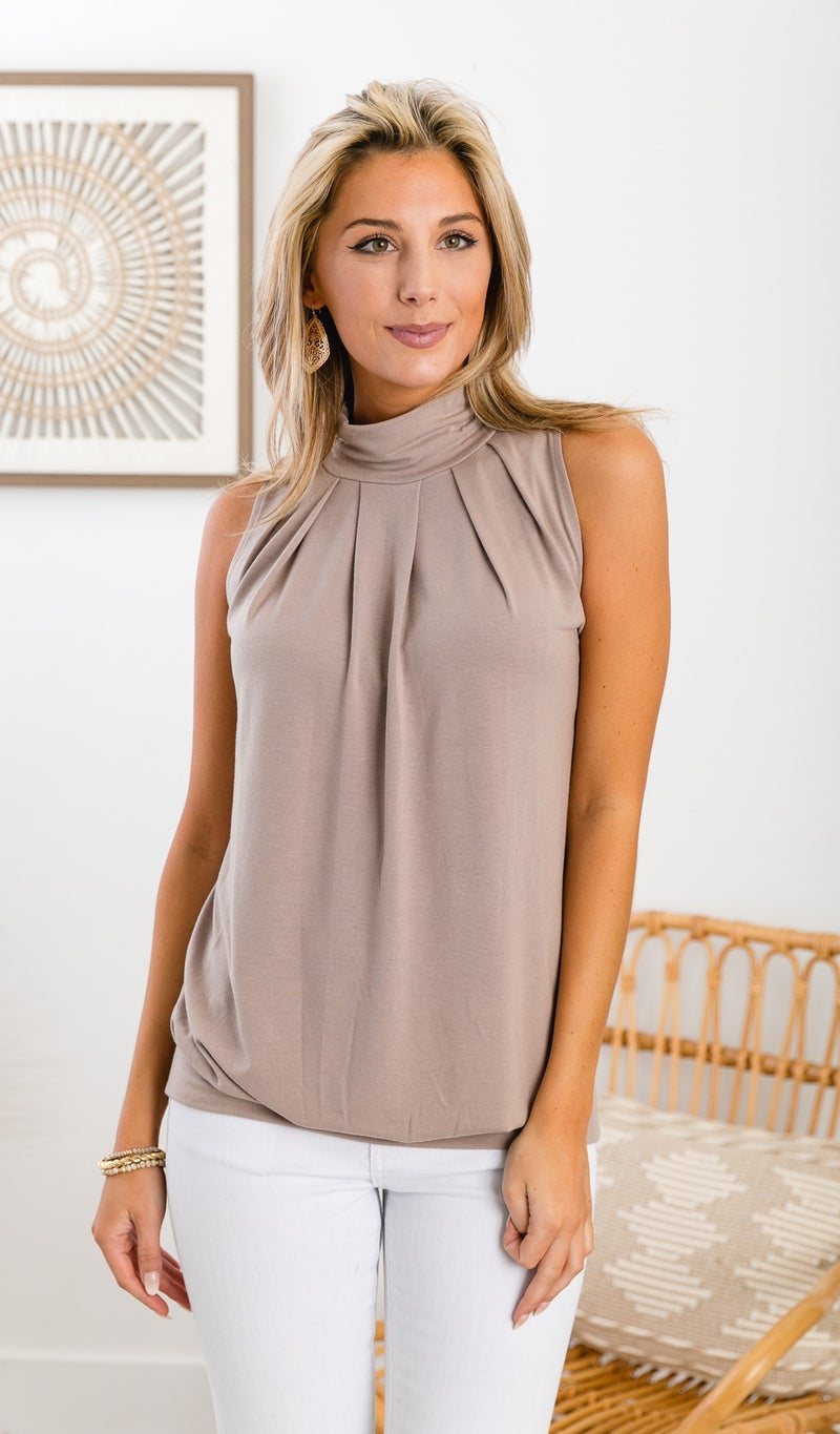 Casually Cute Mock Neck Tank, Mocha