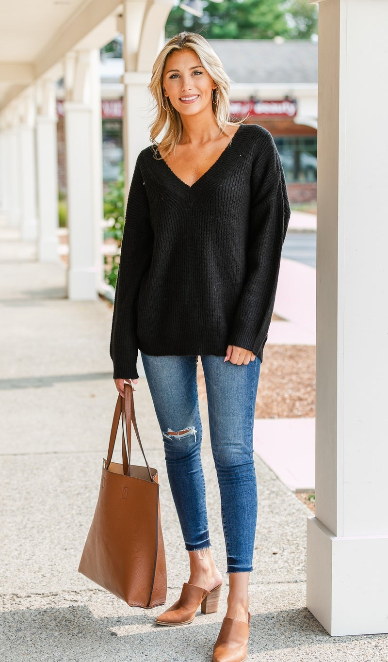 Wish you Were Here Sweater, Black or Stone