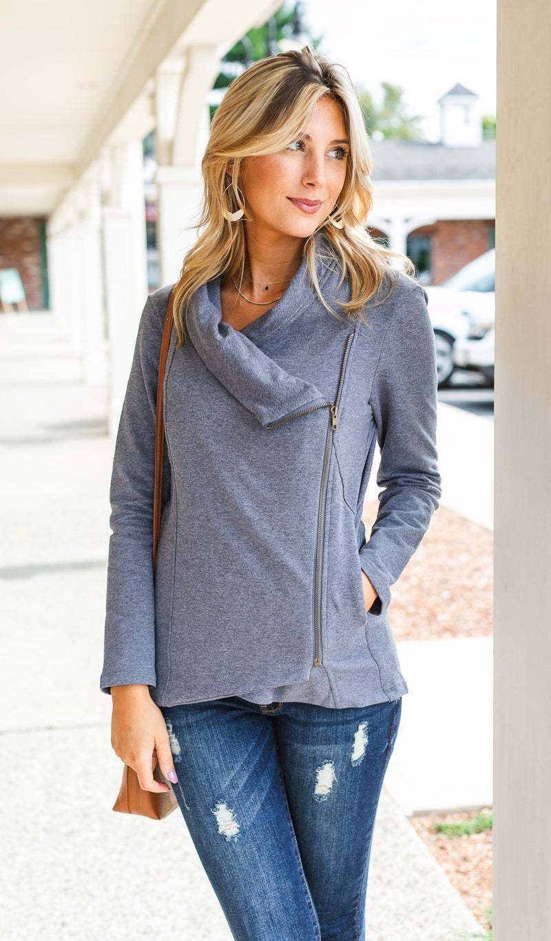 Falling For You Side Zip, Charcoal