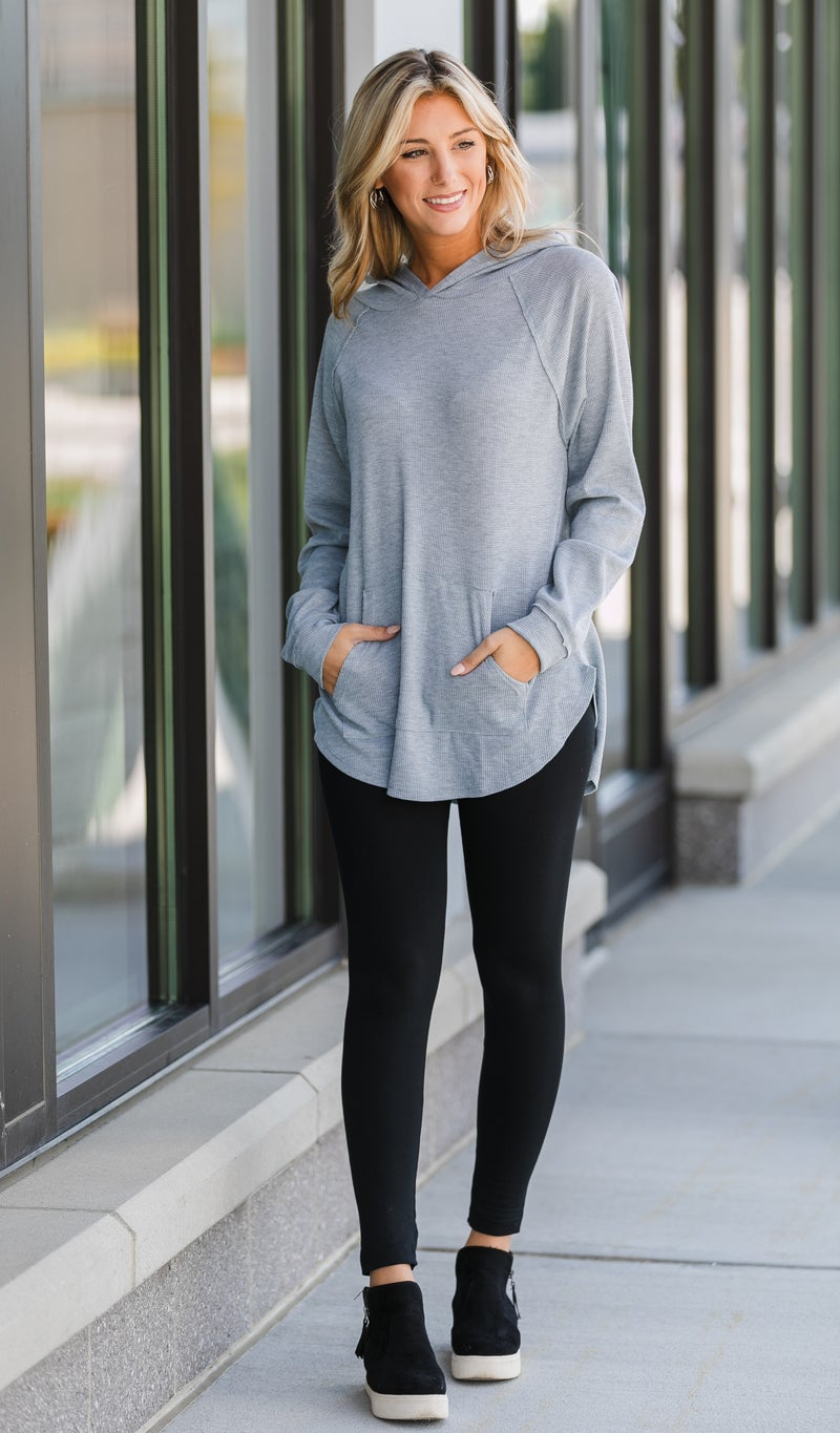 Laura Hoodie Tunic, Grey, Olive, Or Black