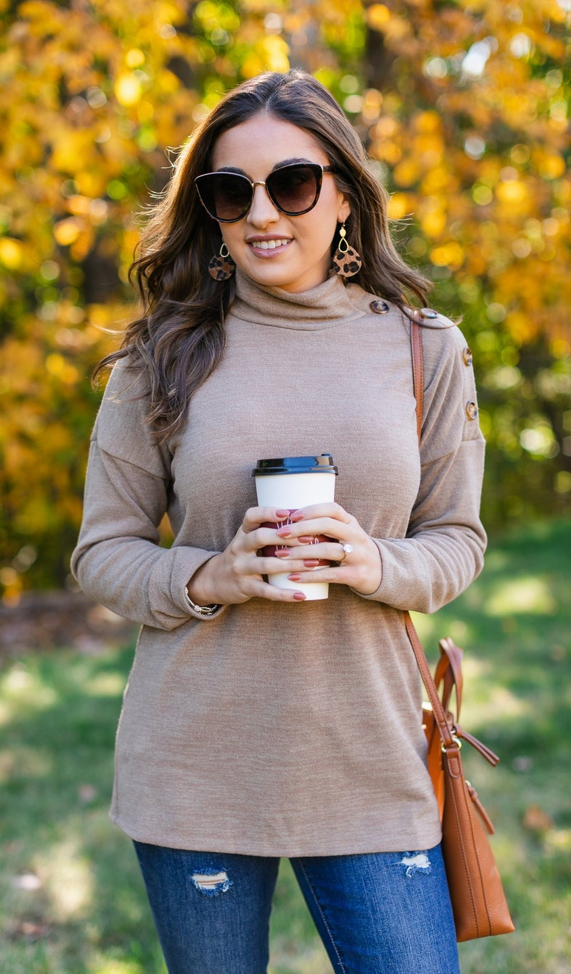 A Button Dream Top, Olive or Mocha