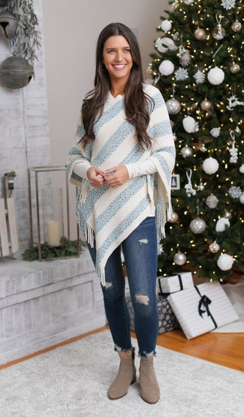 Fall Feels Soft Poncho,   Blue & Ivory  $9.99 DEAL!!!