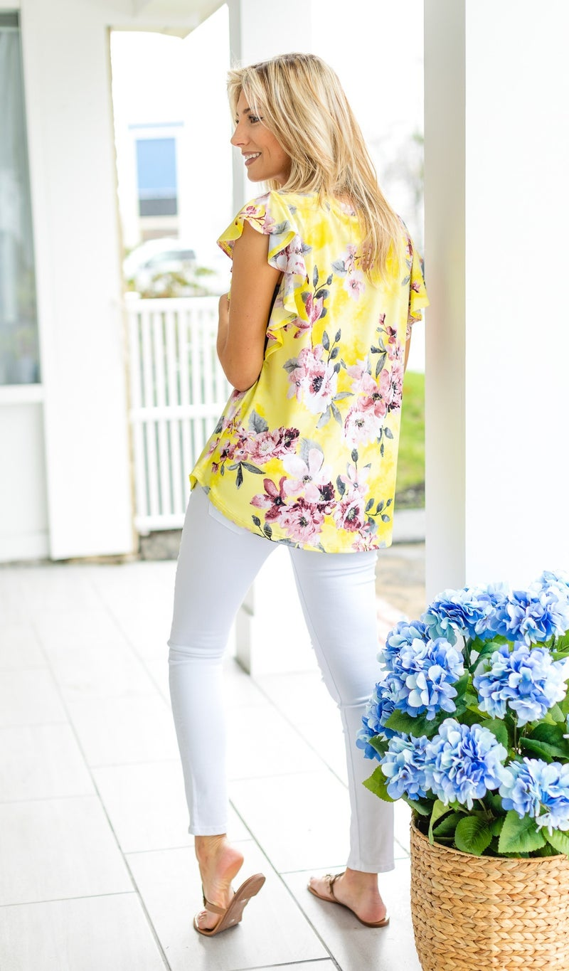 Fields of Love Top, Yellow Floral