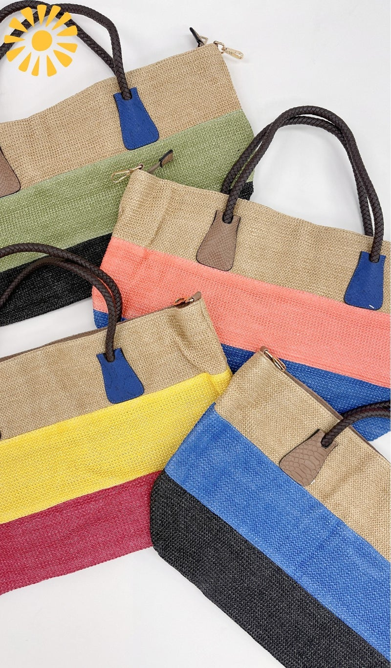 Day At The Beach Tote,  Cobalt, Coral, Olive or Yellow