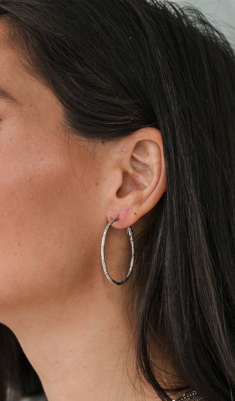 Textured Hoop Earring, Silver or Gold