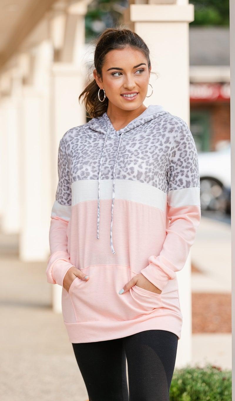 Simply Spotted Hoodie, Pink Print