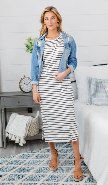 Stripes All Day Dress, Ivory