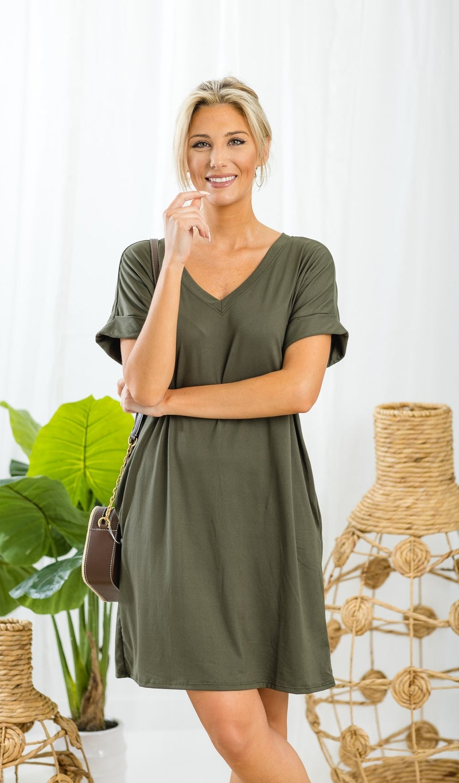 On The Go Tee Shirt Dress, Olive