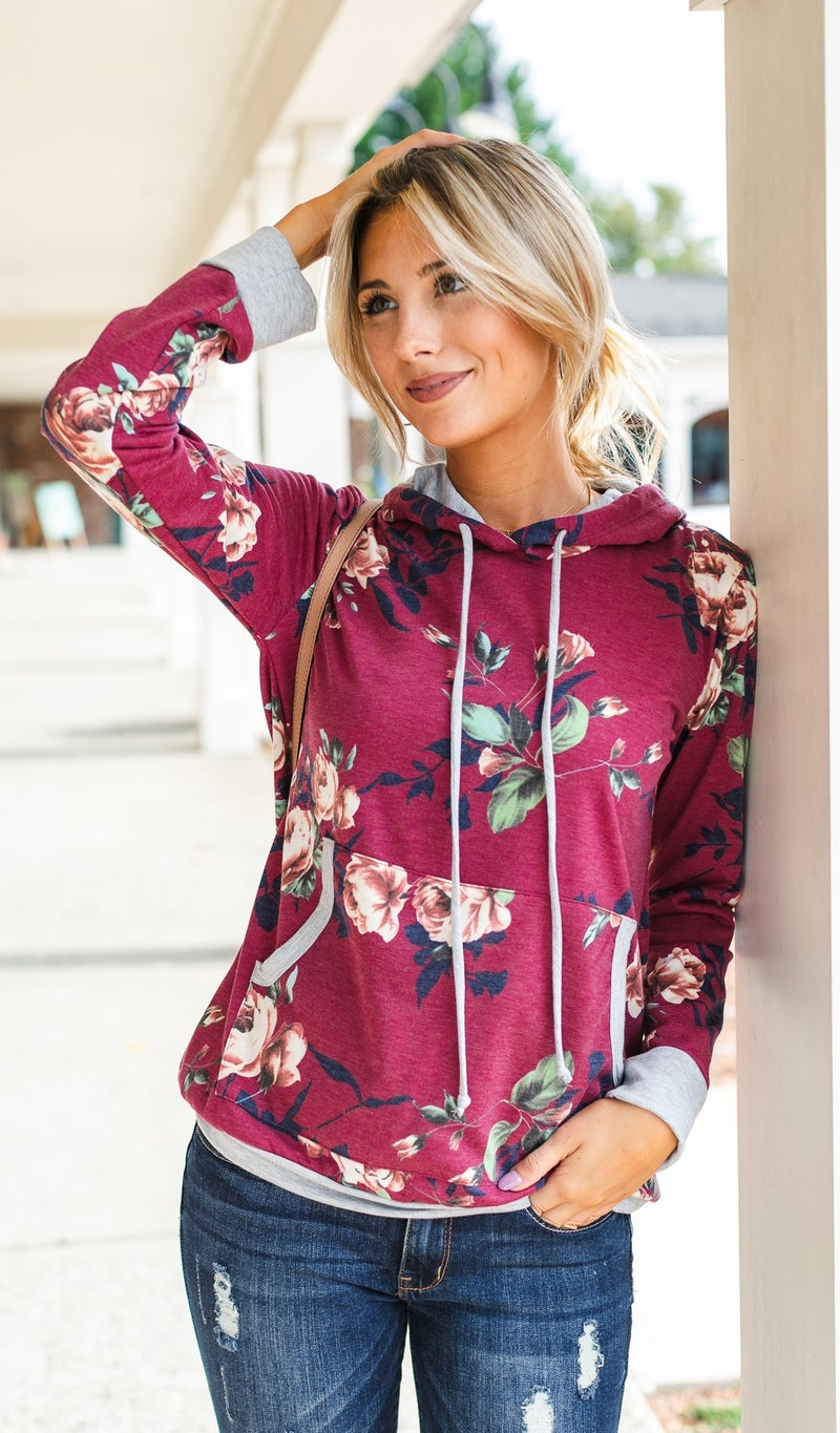 Together With You Hoodie, Burgundy Floral