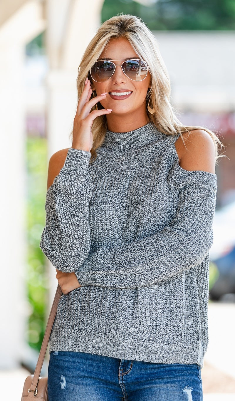 Can't Waist Knit Sweater, Heathered Grey
