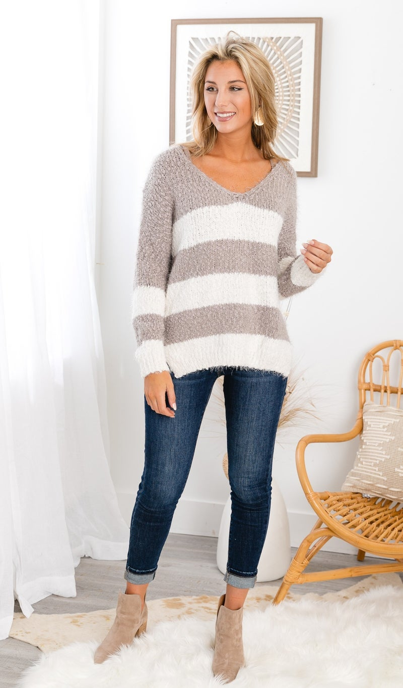 I Knew You Sweater, Ivory & Taupe