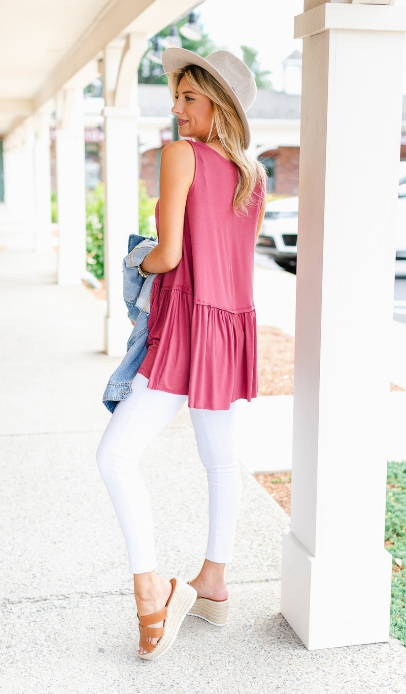 Colby babydoll Tank, Charcoal, Ivory or Red