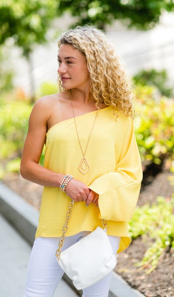 The Ellie Blouse Top, Yellow