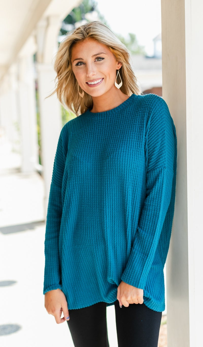 Kind Heart Thermal Knit Tunic, Camel, Green, Burgundy or Teal