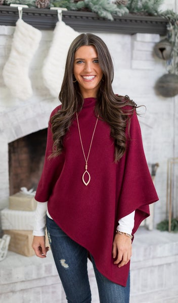 Change Of Seasons Poncho, Burgundy **Final Sale**