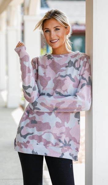 Cozy Hacci Knit Camo Top, Grey or Pink