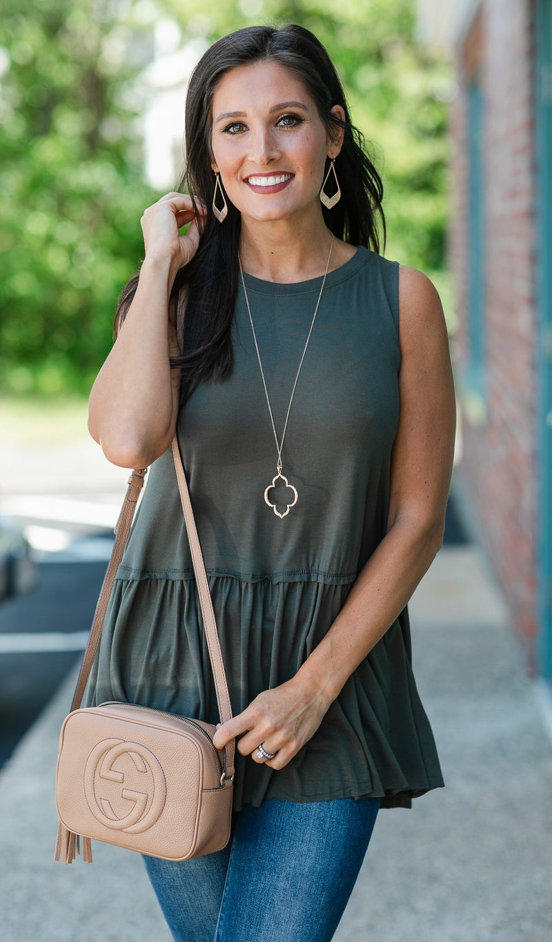 Colby babydoll Tank, Olive