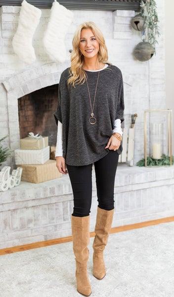 On The Road Sweater/Poncho, Marled Black