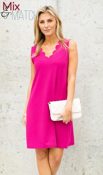 Scallop Shores Dress, Fuchsia