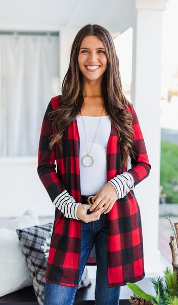 Country Road Cardigan, Red Buffalo Check