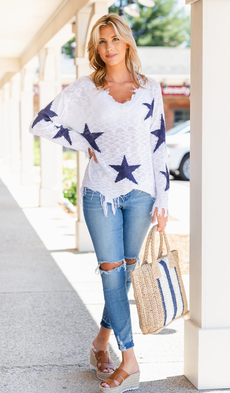 Star Spangled Sweater, Red or White
