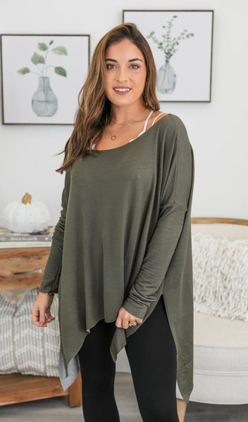 Shrug It Off Top/Tunic, Olive