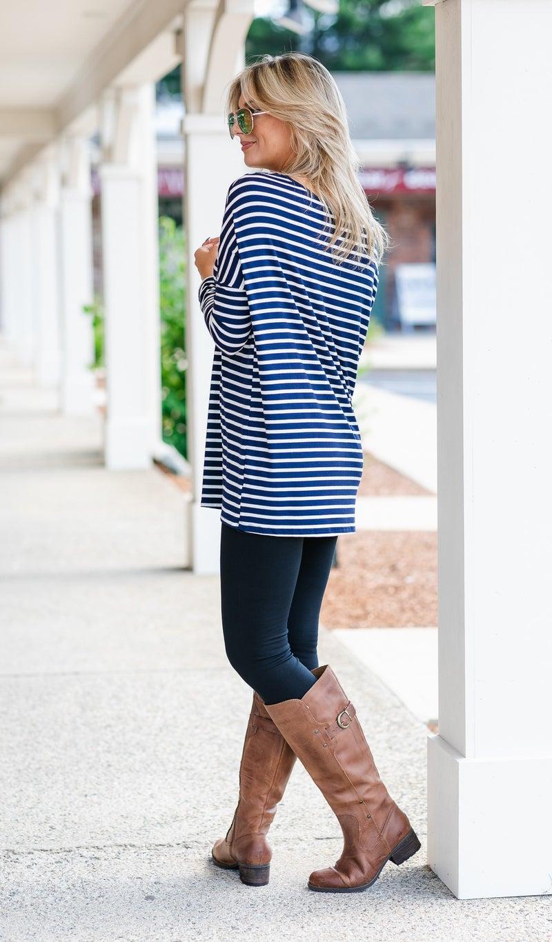 The Henley Stripe Tunic, Navy & Ivory