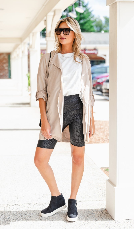 Faux Leather Snake Skin Biker Shorts, Black