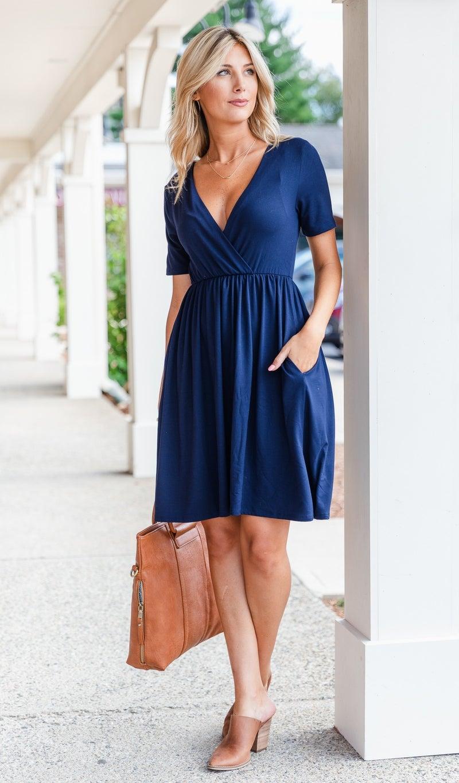Cassia Summer Dress, Navy