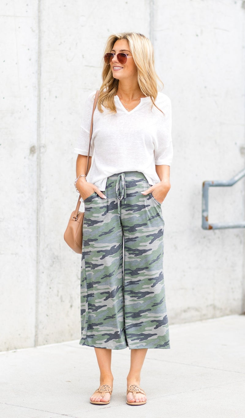 The Ava Wide Leg Cropped Pant, Camo
