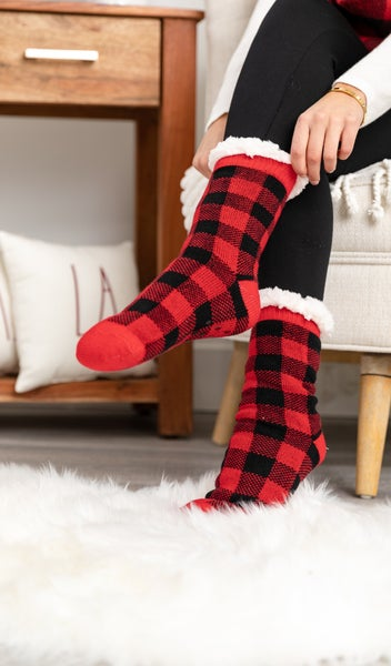 Festive Sherpa Lined Socks,  Multiple Color choices!!!