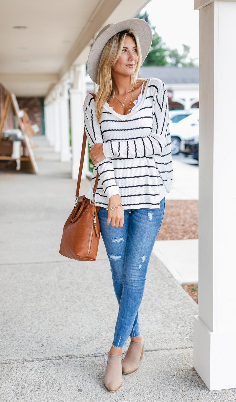 Colby Striped Sweater, Ivory
